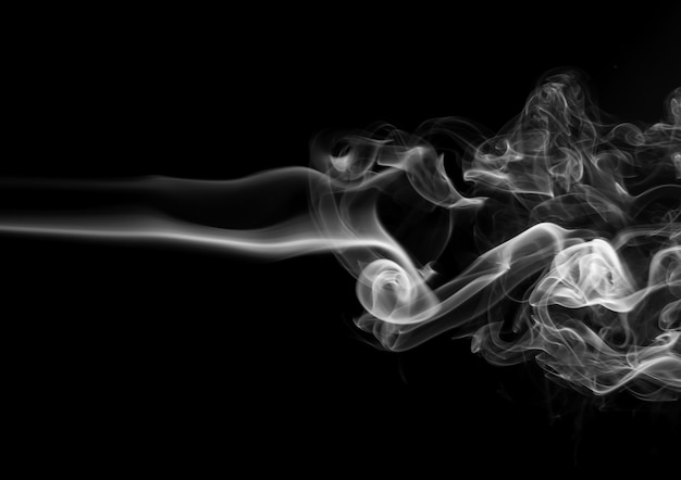 Fire of white smoke abstract on black background