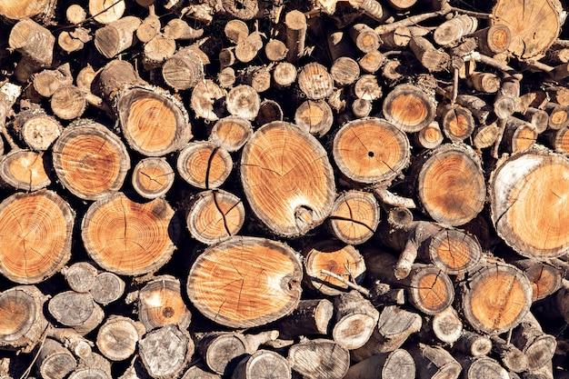 丸いチーク木の切り株の背景。天然fireのスタック