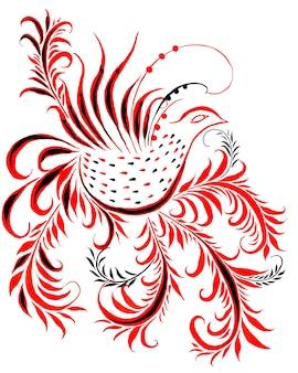 Жар-птица красные перья акварельные огненные символы феникса на белом фоне хохлома