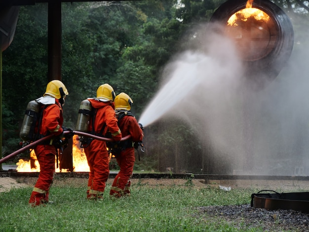 Firefighter training fire emergency in action
