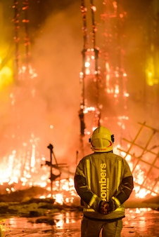Firefighters at the traditional spain festival