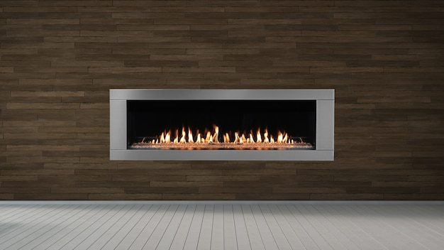 Fireplace on brown wall in empty living room interior of house.
