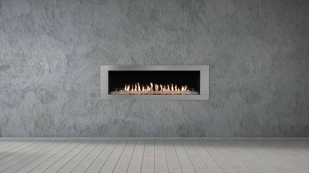 Fireplace on grey concrete wall in empty living room interior of house.