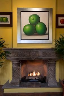 Fireplace at hotel, belmond casa de sierra nevada, san miguel de allende, guanajuato, mexico