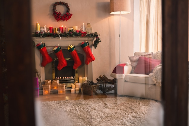 Fireplace with red christmas socks