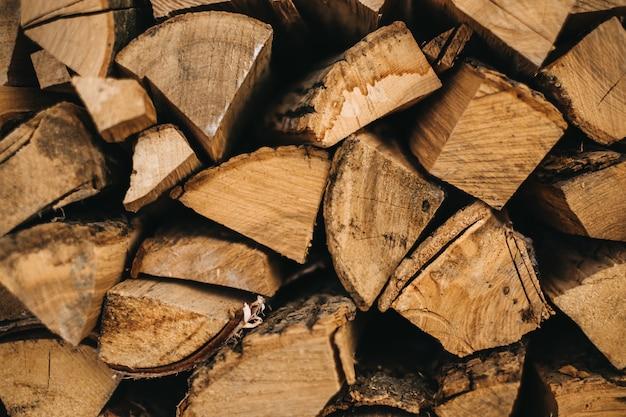 暖炉の木の背景、クローズアップ。