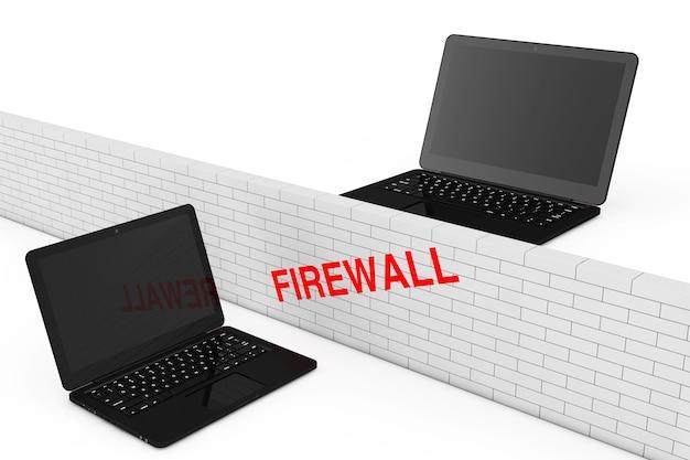 Концепция брандмауэра. кирпичная стена межсетевого экрана между двумя ноутбуками безопасности на белом фоне. 3d рендеринг