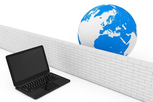 Концепция брандмауэра. безопасность ноутбука брандмауэром в глобальной сети на белом фоне. 3d рендеринг