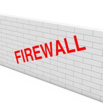 Концепция брандмауэра. белая кирпичная стена с брандмауэром знаком на белом фоне. 3d рендеринг