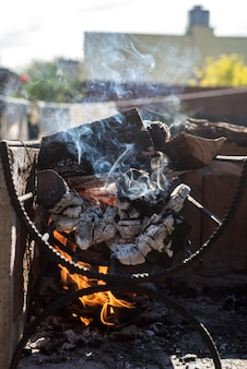 Firewood burning for barbeque