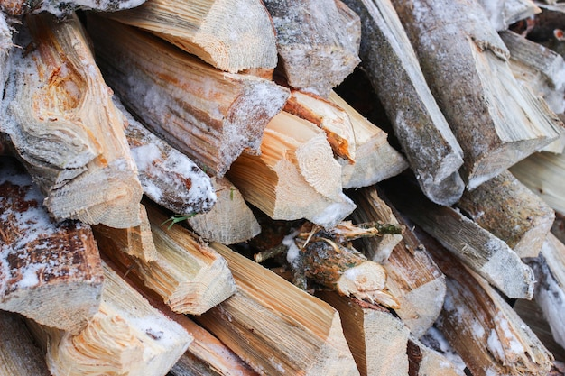 Firewood close-up in winter