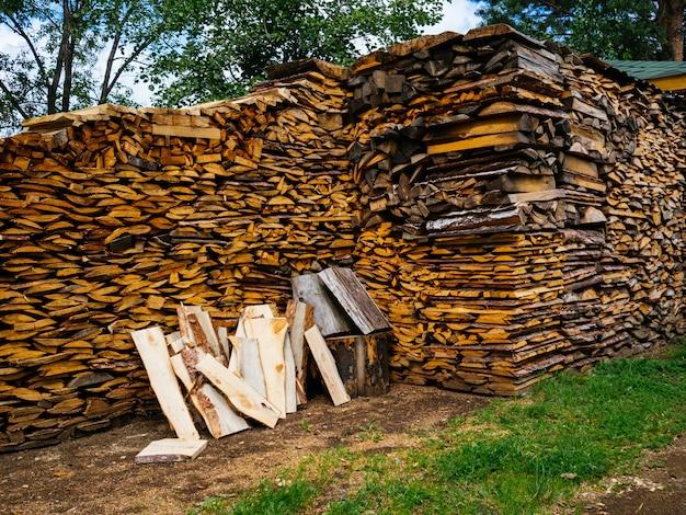冬の薪。薪ストーブ用の木材