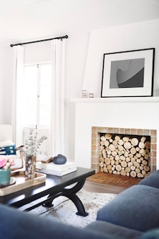 Firewood storage in a living room