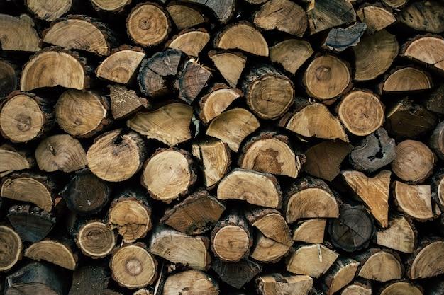 Firewood in woodpile