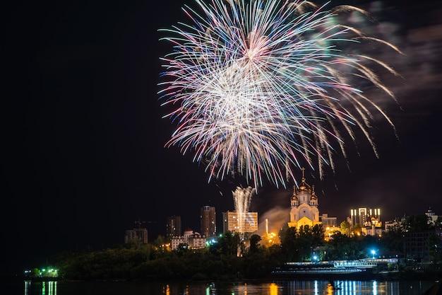ハバロフスクで花火のコンセプト明けましておめでとうございます