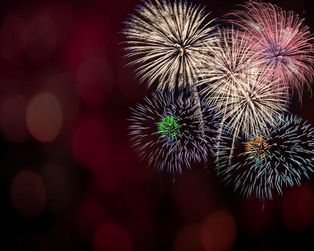 Firework display on black background