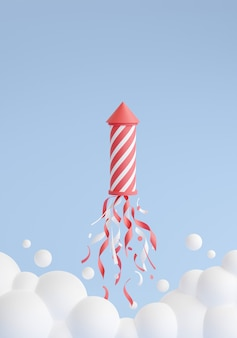Firework launching and flying up 3d render illustration. pink and white striped rocket with sparkles and confetti, clouds of smoke on blue background for holiday celebration and congratulation.