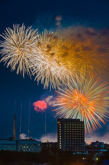 러시아 모스크바에서 승리의 날 불꽃놀이