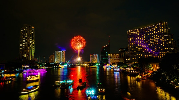Firework on river, bangkok thailand.