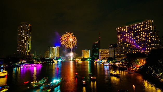 Firework on river, bangkok thailand