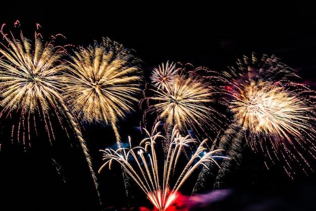 Firework on the sky background.