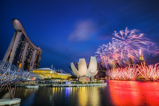 Firework with blue sky in singapore city