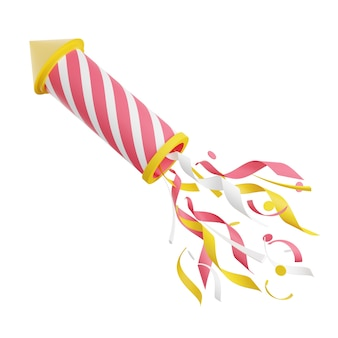 Firework with confetti 3d render illustration. pink and yellow striped flying rocket with sparkles isolated on white background for holiday celebration and congratulation.