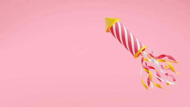 색종이 3d 렌더링 그림 복사 공간이 있는 불꽃. 휴일 파티, 축하, 축하 배너를 위해 분홍색 배경에 반짝거리는 줄무늬가 있는 비행 로켓.