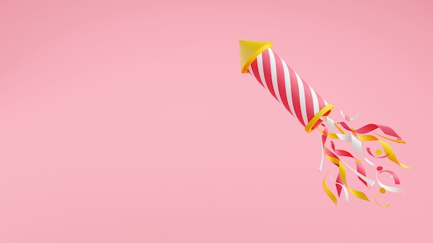 Firework with confetti 3d render illustrationwith copy space. striped flying rocket with sparkles isolated on pink background for holiday party, celebration and congratulation banner.