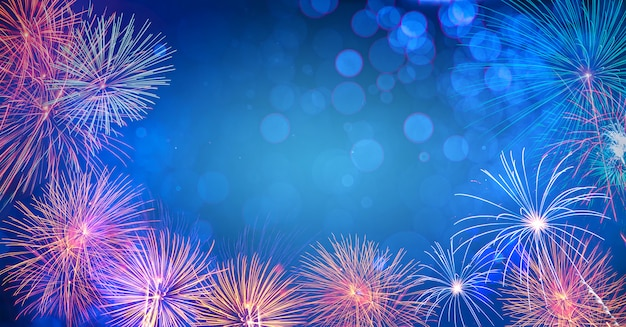 Абстрактный фон с fireworks.background празднования нового года много красочных