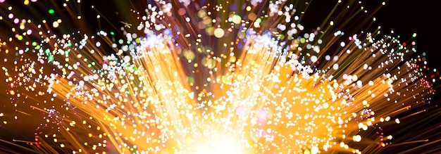 Fireworks explosion in yellow shades