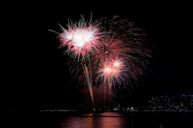 Fireworks at sea.