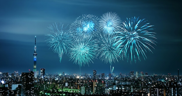Fireworks over tokyo cityscape at night, japan