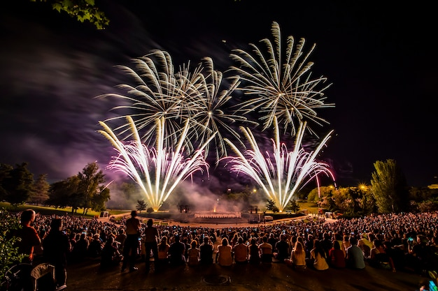 The fireworks with silhouette of auditorium
