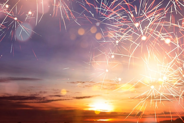 Fireworks with sunset sky