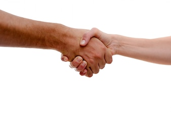 Firm handshake in greeting