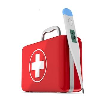 응급 처치 키트와 격리 된 흰색 표면에 온도계