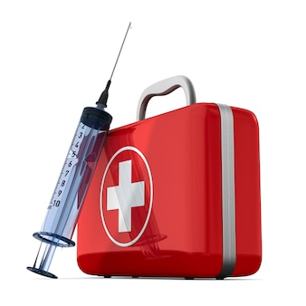 First aid kit. isolated, 3d rendering