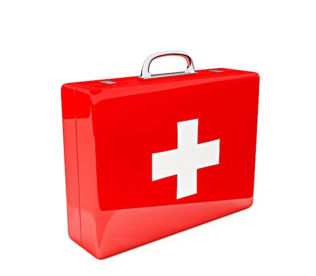 흰 벽에 고립 된 응급 처치 키트