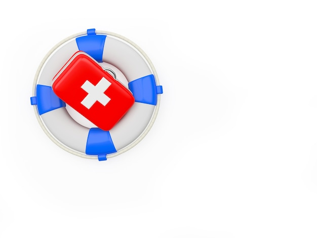 First aid kit on lifebuoy isolated