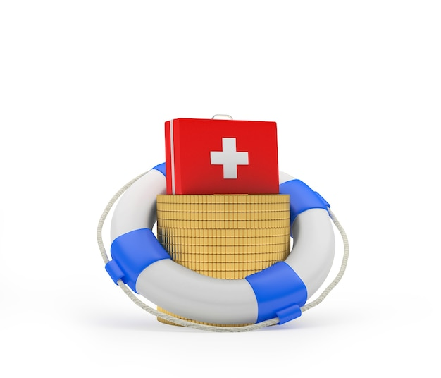 Аптечка на монетах в спасательном круге 3d модель