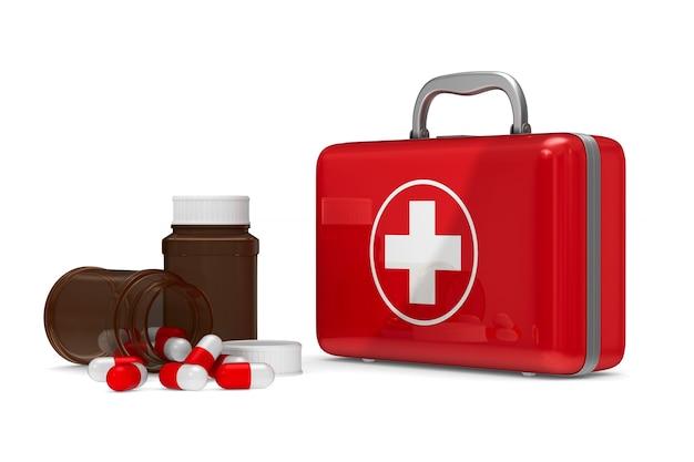 Аптечка на белом фоне. изолированная 3-я иллюстрация