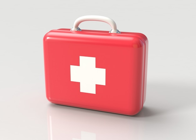 First aid kit in red and white with cross