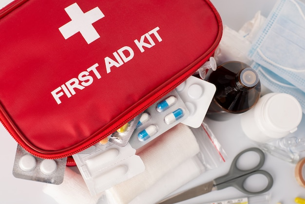 First-aid kit with all essential elements is an important part of safety in emergancy situations