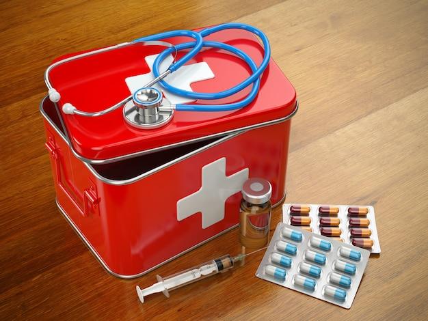 테이블에 청진기, 알약, 주사기가 있는 응급 처치 키트. 3d