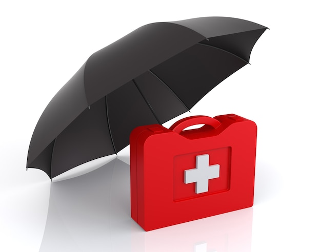 First aid kit with umbrella. isolated white background