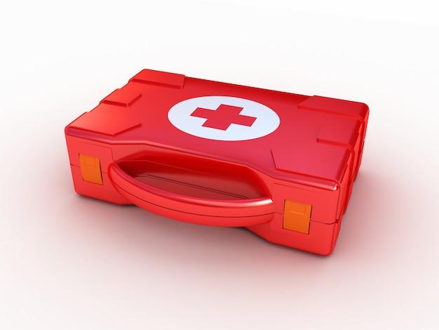 Первая помощь. аптечка на белом изолирована. 3d иллюстрация