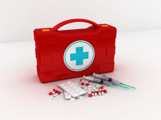 応急処置。白の医療キットが分離されました。 3dイラスト
