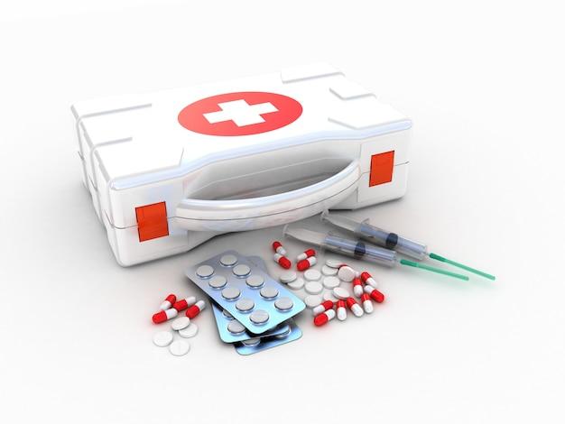 応急処置。白の医療キット