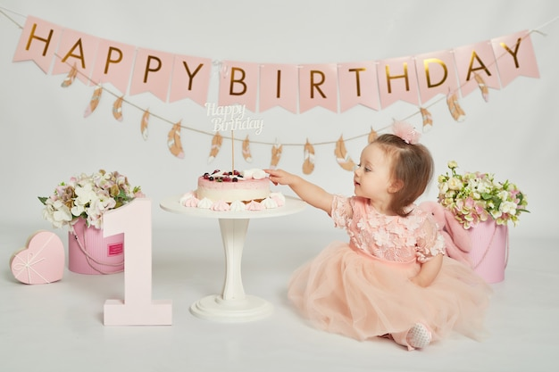 First birthday girls, decor in pink colors